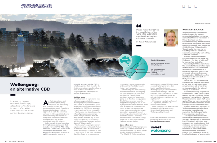 Invest Wollongong article in AICD magazine